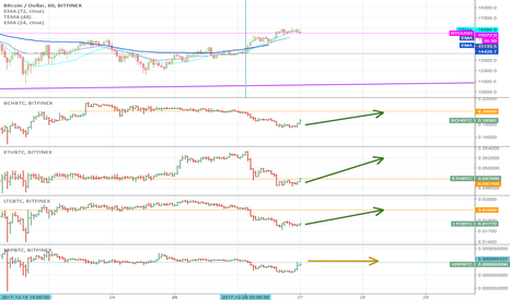 BTCUSD: Bitcoin leaves altcoins 10% behind, for how long?