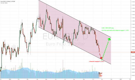 EURUSD: Daily chart  EUR / USD will Long, but first will fall at 1.075