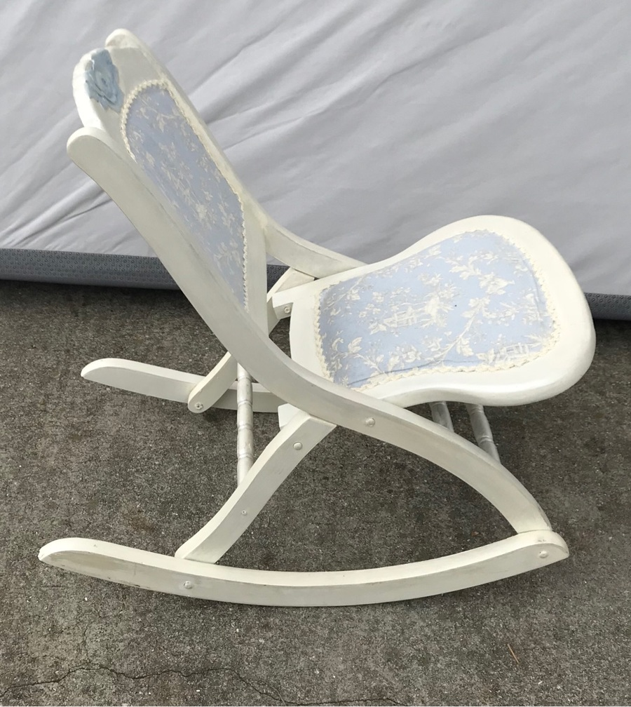 white wooden rocking chair. Photo Of White Wooden Rocking Chair O