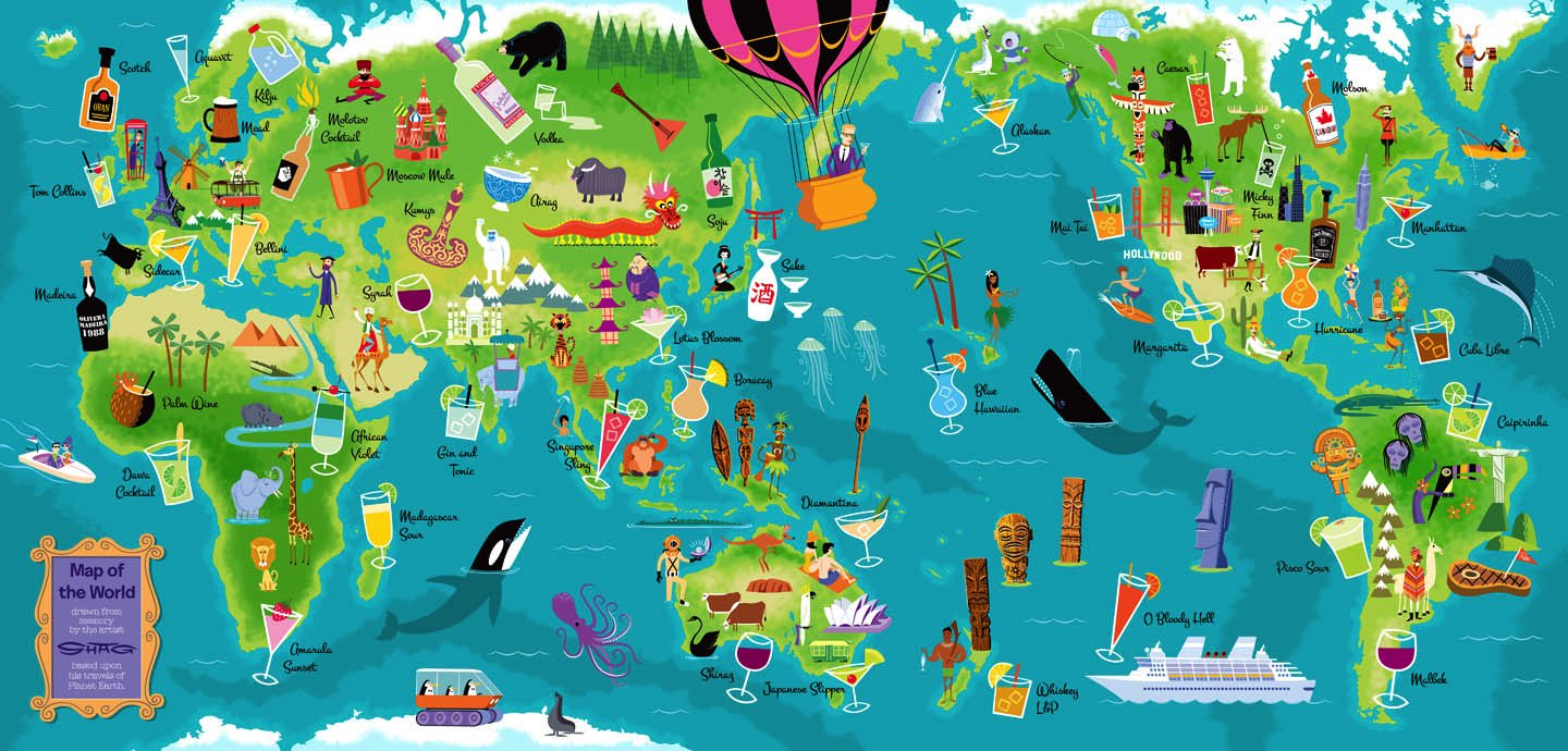 Shag Map Of The World Giclee Art Print By Shag Trampt Library