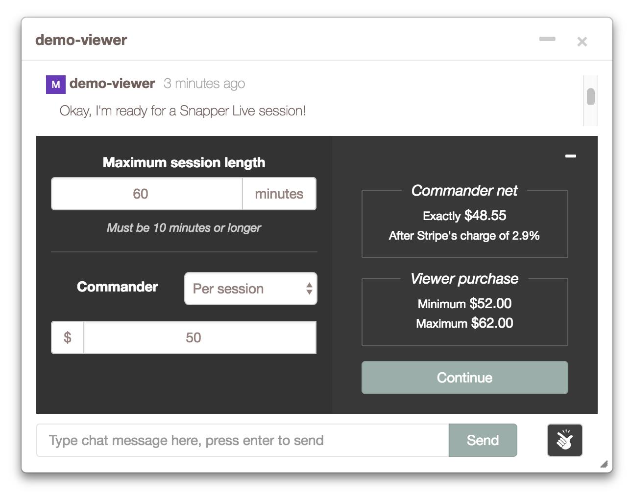 Snapper live conversation screenshot