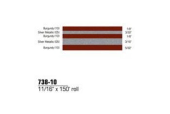 3M 738-10 11/16'' X 150'  BURGUNDY/SILVER METALLIC STRIPE