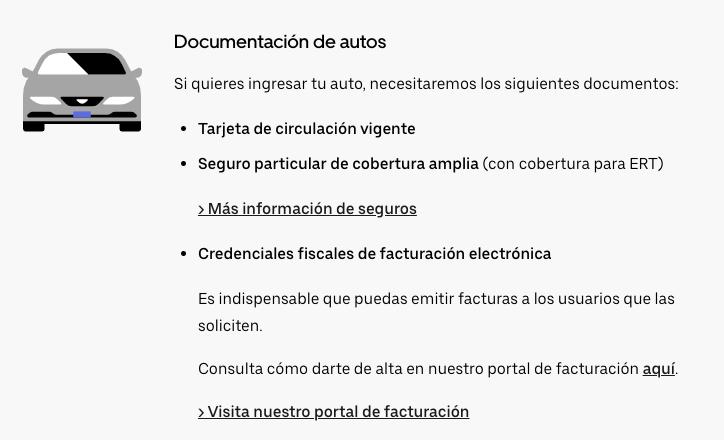 requisitos para vehículos uber