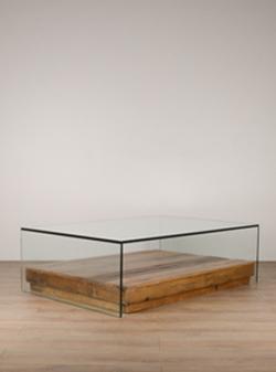 Mesa de centro Corchete cristal bandeja piso