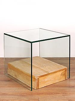 Mesa lateral Corchete cristal bandeja piso