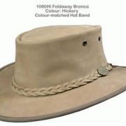 BARMAH FOLDAWAY BRONCO LEATHER HAT - HICKORY [Hat Size:XL]