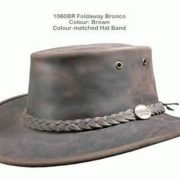 BARMAH FOLDAWAY BRONCO LEATHER HAT BROWN [Hat Size:Small]