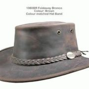 BARMAH FOLDAWAY BRONCO LEATHER HAT BROWN [Hat Size:XL]