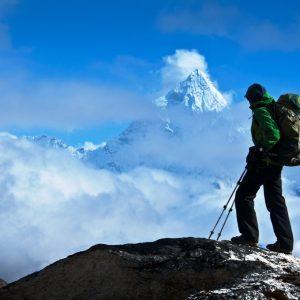 Ama Dablam between Cho la to Lobuche in Kumbhu region in Nepal