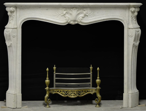 White marble louisxv antique fireplace 1730