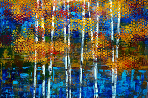 Aspens by the lake 48 x 72 acrylic on birch copy