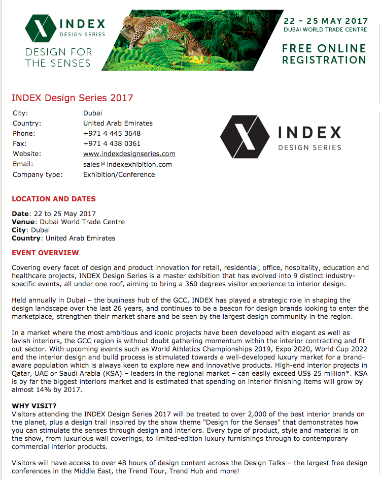 INDEX Design Series Trade Show - Dubai, United Arab Emirates