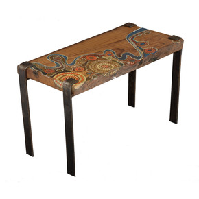 Aboriginal Art Side Table - Square Barrel - Treniq