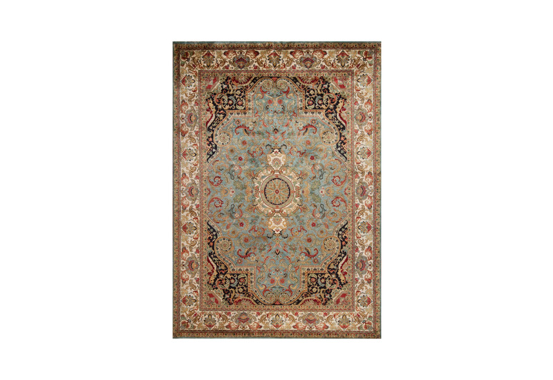 Golden age jewel blue ivory rug samad rugs treniq 1