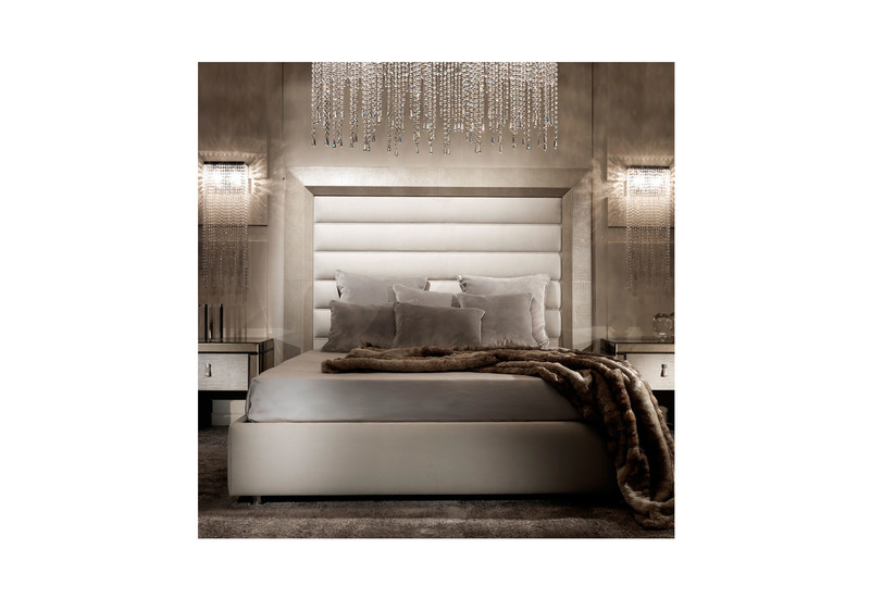 Contemporary alligator embossed pattern leather italian designer bed  juliette s interiors treniq 1. Alligator Embossed Italian Designer Bed   Treniq