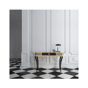 High End Decorative Black Gold Console - Jennifer Manners - Treniq