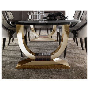 Italian Black Lacquered Gold Oval-Dining Set - Jennifer Manners - Treniq