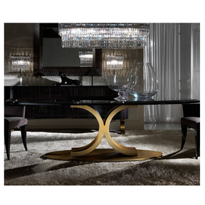 Italian Contemporary Large Oval Dining Table and Chairs Set - Jennifer Manners - Treniq