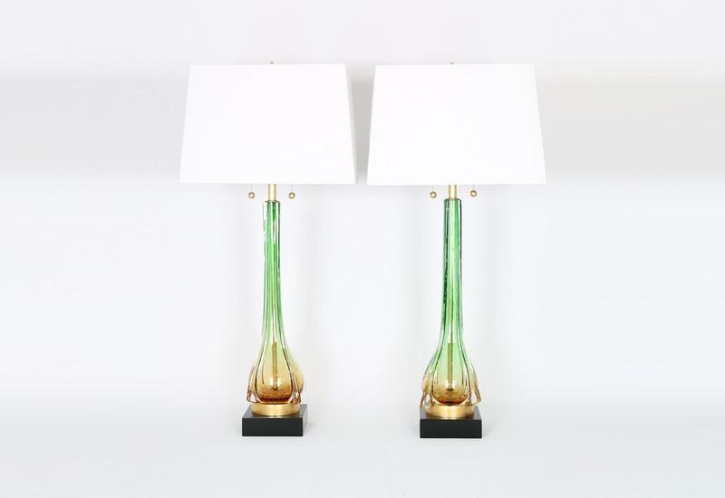 Murano green and gold lamps sergio jaeger treniq 1