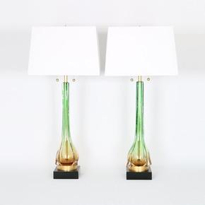Murano Green and Gold Lamps - Sergio Jaeger - Treniq