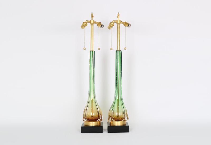 Murano green and gold lamps sergio jaeger treniq 4