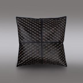Pitch Black Hide Cushion - Casa Botelho - Treniq
