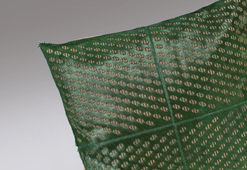 Seaweed green hide cushion casa botelho treniq 2