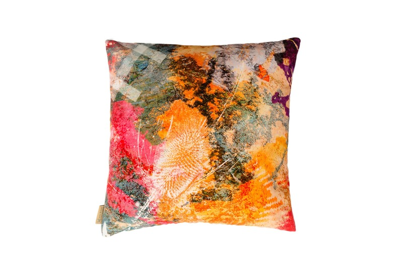 Fire thistle velvet cushion mairi helena treniq 1