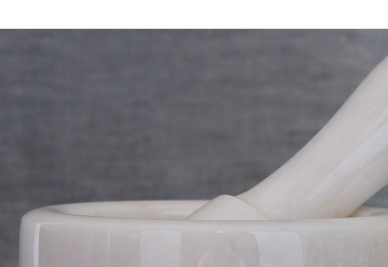 White marble motar pestle carved additions treniq 4