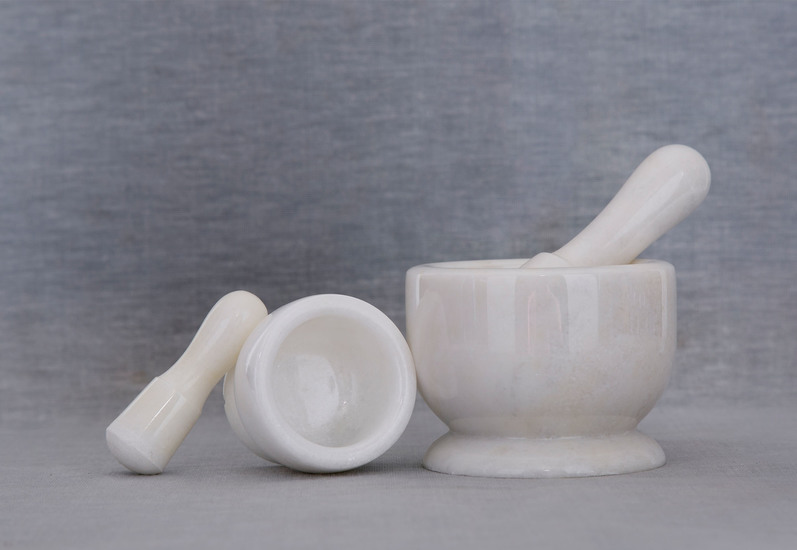White marble motar pestle carved additions treniq 5