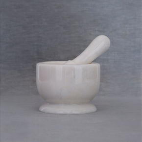 White Marble Motar Pestle - Carved Additions - Treniq