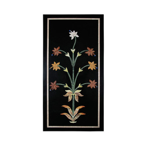 Floral-Black-Marble-Wall-Hanging_Carved-Additions_Treniq_0