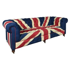 Blue Union Jack Chesterfield Sofa