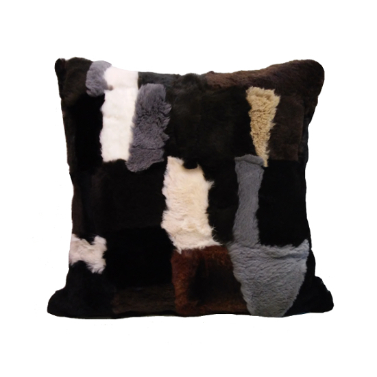 Rabbit fur cushion  patchwork  mixed colour