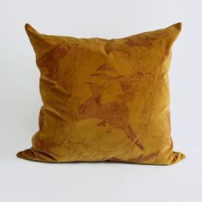 Taxidermy Birds Large Velvet Cushion (Mustard)