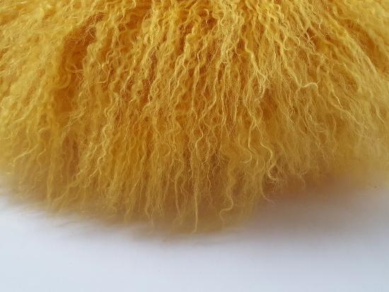 Sunflower tibetan lamb round cushion. detail.