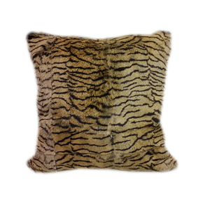 Rabbit Fur Cushion - Tiger Print