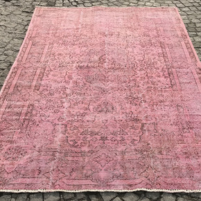 Pink-Over-Dyed-Turkish-Rug-Handmade-Vintage-Carpet_Istanbul-Carpet_Treniq_0