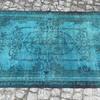 Turquoise blue handmade overdyed rug   vintage turkish mutedcarpet istanbul carpet treniq 1 1491572622931