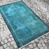 Turquoise blue handmade overdyed rug   vintage turkish mutedcarpet istanbul carpet treniq 1 1491572622936