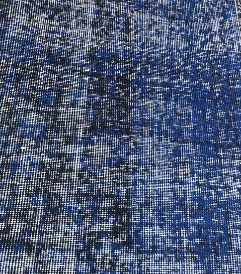 Navy Blue Over Dyed Handmade Rug Vintage Turkish Carpet