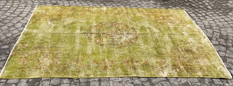 Greenish yellow overdyed handmade rug   vintage turkish muted carpet istanbul carpet treniq 1 1491577753130