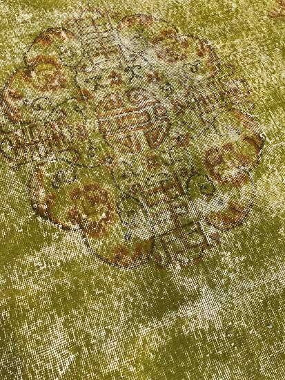 Greenish yellow overdyed handmade rug   vintage turkish muted carpet istanbul carpet treniq 1 1491577753129