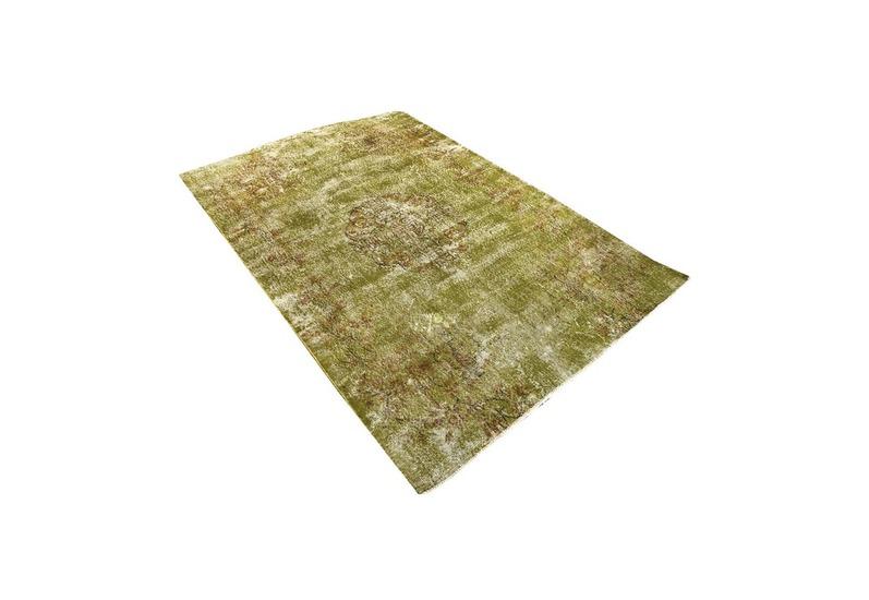 Greenish yellow overdyed handmade rug   vintage turkish muted carpet istanbul carpet treniq 1 1491577753098