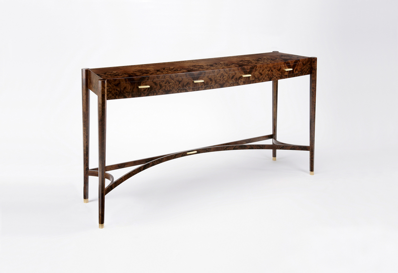 Burr walnut console table philip dobbins 1