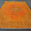 Oversized orange overdyed handmade rug   vintage oushak carpet istanbul carpet treniq 1 1493206772467