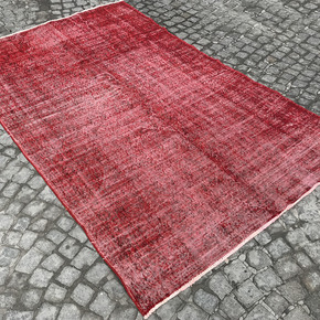 Red-Overdyed-Handmade-Rug-Vintage-Turkish-Red-Oushak-Rug_Istanbul-Carpet_Treniq_0