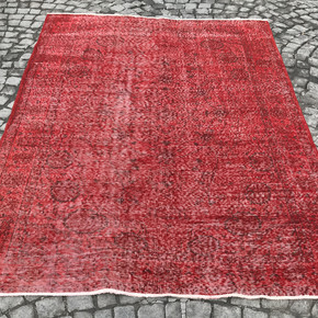 Red-Overdyed-Handmade-Rug-Vintage-Turkish-Red-Oushak-Rug_Istanbul-Carpet_Treniq_0