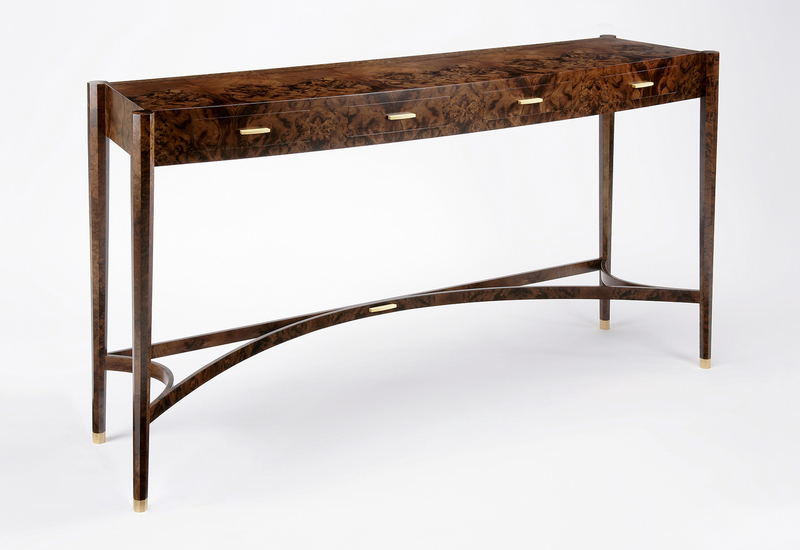 Burr walnut console table philip dobbins 2