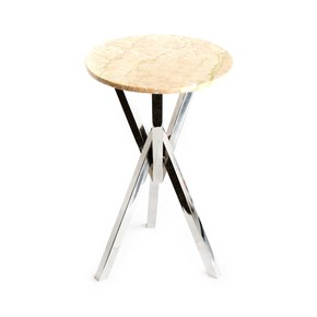 Stainless-Steel-With-Marble-Top-End-Table_Home-N-Earth_Treniq_0